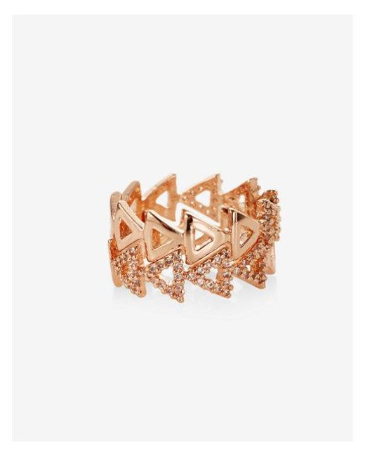 Express - Metallic Set Of Two Triangle Cut-out Rings - Lyst