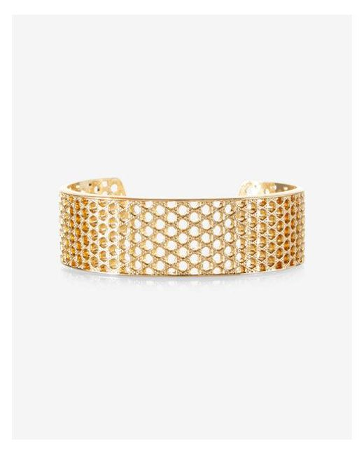 Express   Metallic Perforated Metal Cuff Bracelet   Lyst