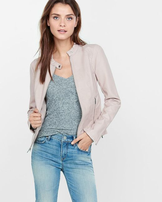 Express | Pink (minus The) Leather Double Peplum Jacket | Lyst