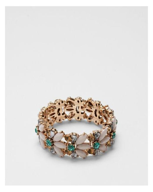 Express - Green Mixed Stone Stretch Bracelet - Lyst