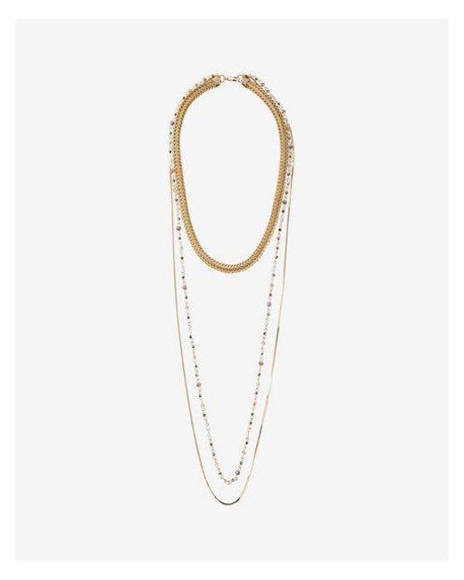 Express | Metallic Three Row Mixed Metal Beaded Necklace | Lyst