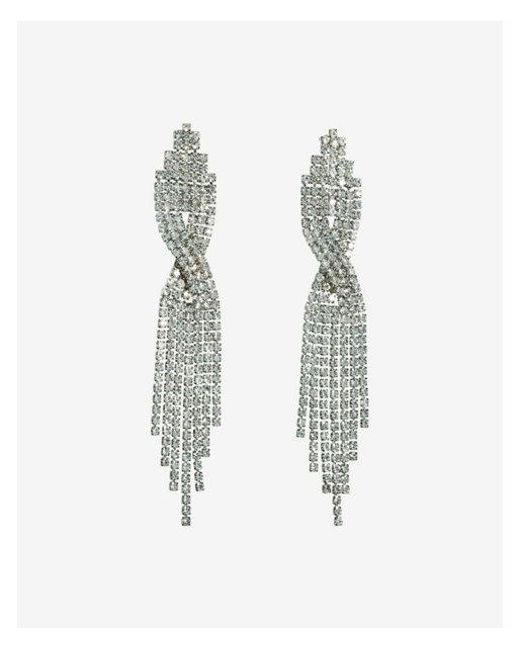 Express | Metallic Crossover Rhinestone Fringe Drop Earrings | Lyst