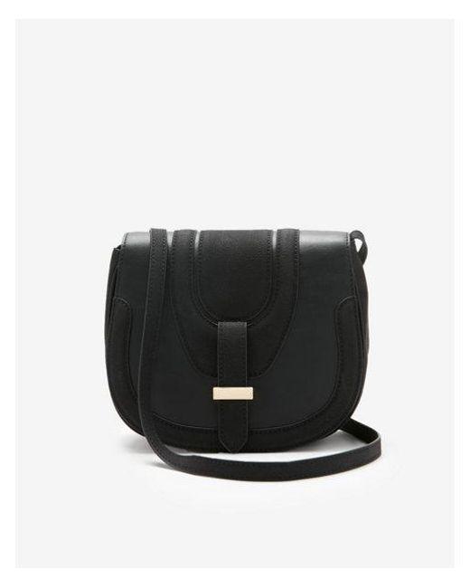 Express - Black Fold-over Saddle Crossbody Bag - Lyst