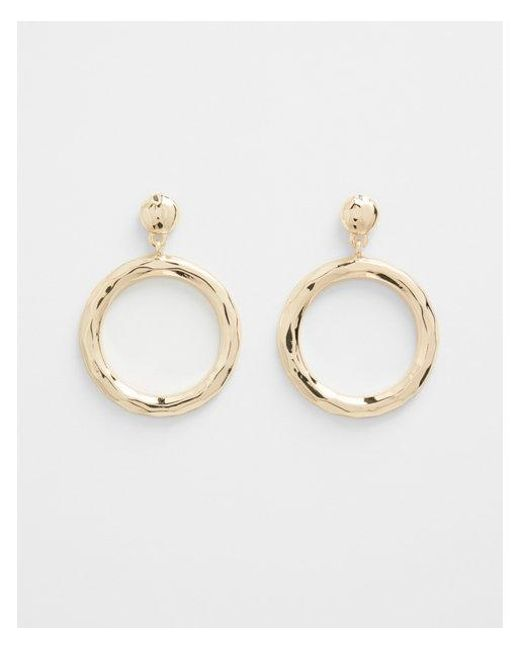 Express - Metallic Hammered Circle Hoop Earrings - Lyst