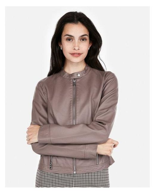 Express - Gray Faux Leather Moto Jacket - Lyst