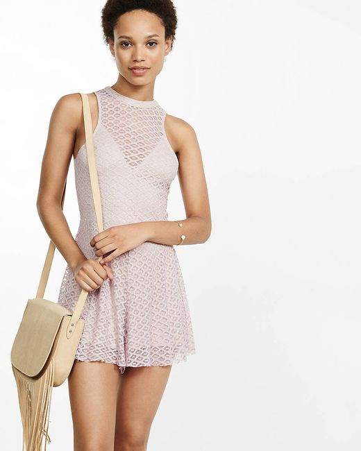 lyst express lace open back romper in pink express lace open back romper in beige impala lyst
