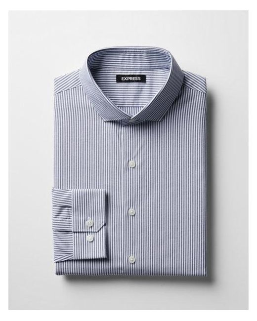 Express - Blue Slim Striped Point Collar Dress Shirt for Men - Lyst