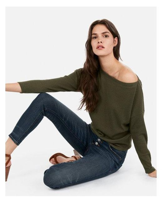 91757d0c3 Lyst - Express One Eleven Off The Shoulder Waffle Knit Tee in Green