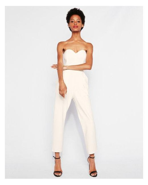 8aa1b6458676 Lyst - Express Strapless Sweetheart Neckline Jumpsuit in White