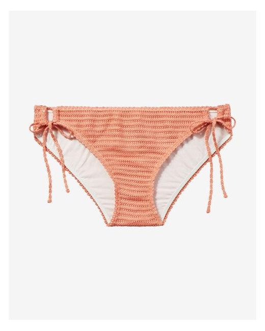 b12f9314eb Lyst - Express Low Rise Crochet Bikini Bottom in Orange