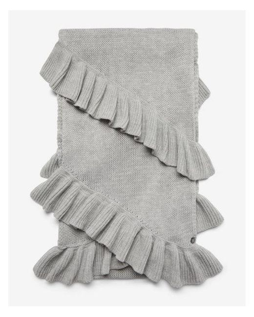 Express - Gray Double Ruffle Oblong Scarf - Lyst