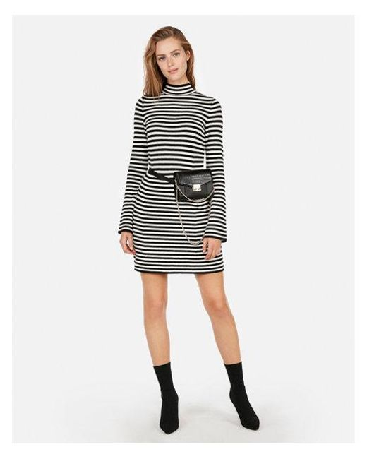96509f1f5d Lyst - Express Striped Ribbed Mock Neck Dress in Black