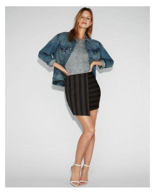 Express - Multicolor High Waisted Jacquard Asymmetrical Mini Skirt - Lyst