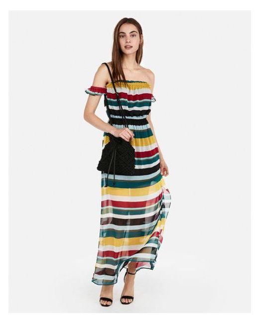 0daea5337238 Express - Multicolor D Off The Shoulder Flutter Sleeve Maxi Dress - Lyst