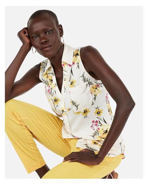 a8d731ff1ce78 Express. Women s Slim Fit Floral Sleeveless Portofino Shirt