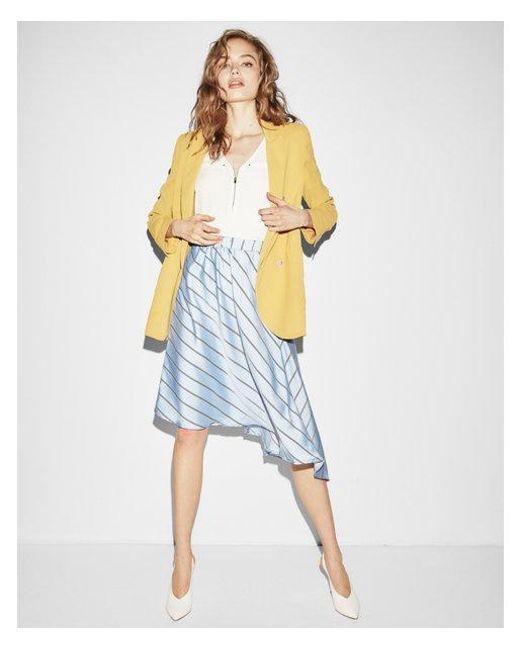 Express - Blue Diagonal Stripe Asymmetrical Midi Skirt - Lyst