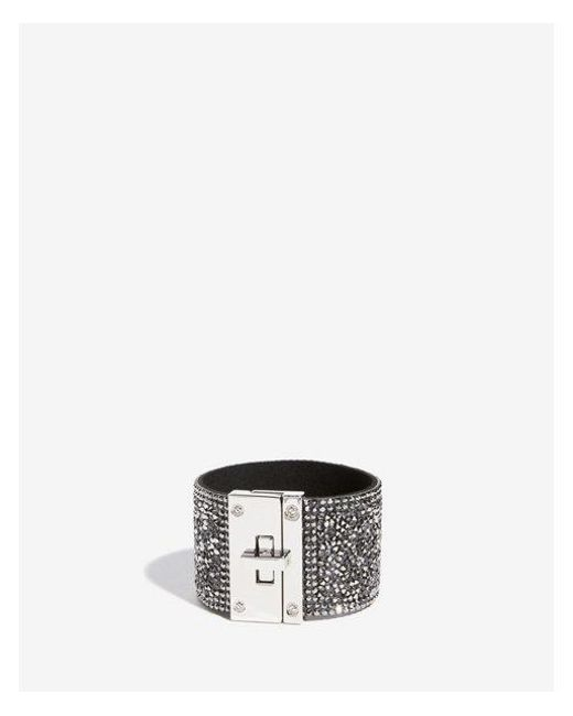 Express - Gray Crushed Bead Turnlock Cuff Bracelet - Lyst