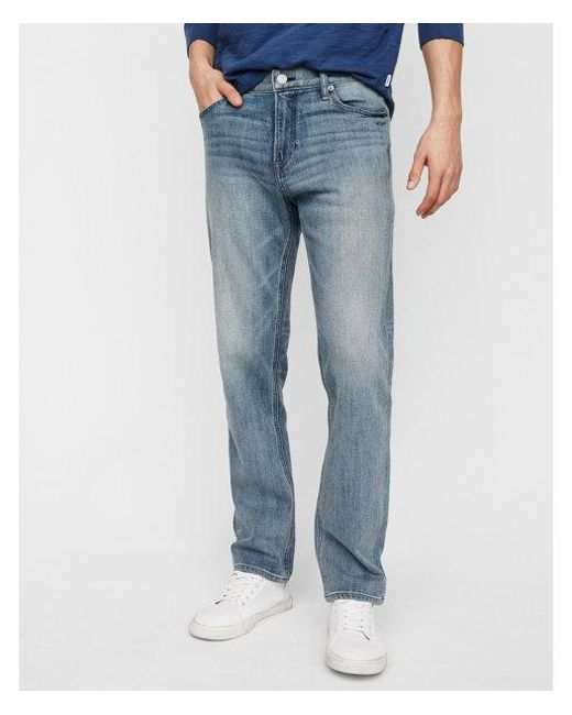 Express - Blue Classic Straight Light Wash Soft Cotton Jeans for Men - Lyst