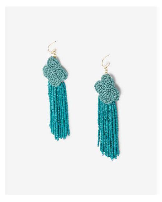 Express   Blue Seed Bead Fringe Drop Earrings   Lyst