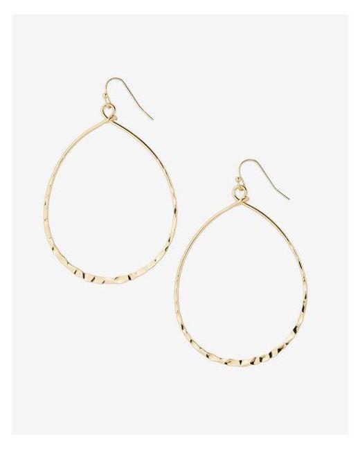 Express | Metallic Hammered Oval Drop Earrings | Lyst