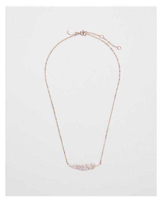 Express | Metallic Cubic Zirconia Horizontal Leaf Necklace | Lyst