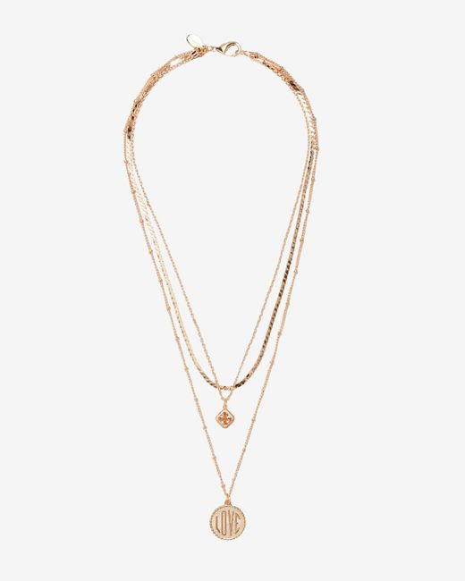 Express - Metallic Nested Love Charms Necklace - Lyst
