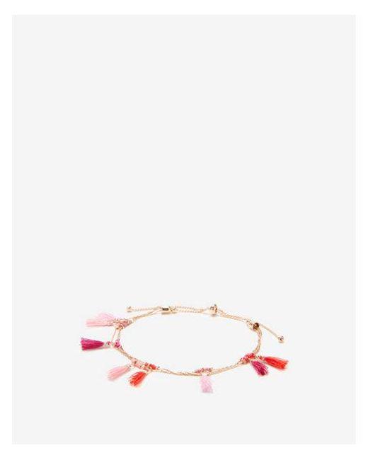 Express - Pink Mini Tassel Pull-cord Bracelet - Lyst