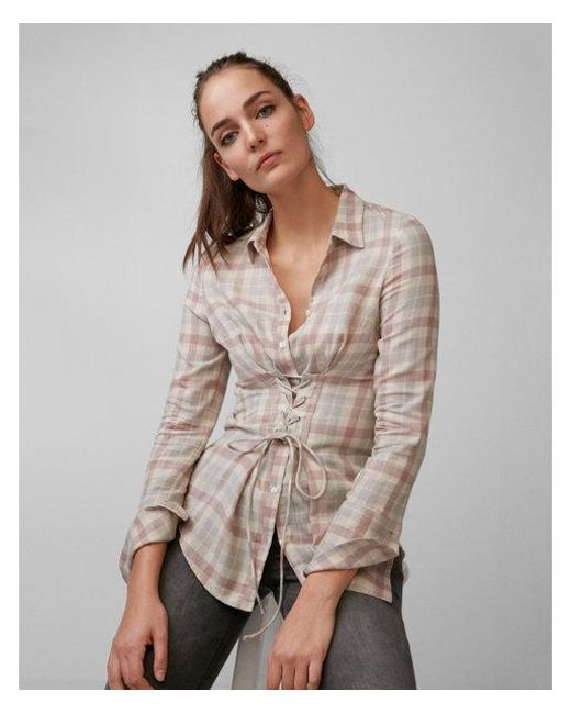 Express | Multicolor Flannel Corset Shirt | Lyst