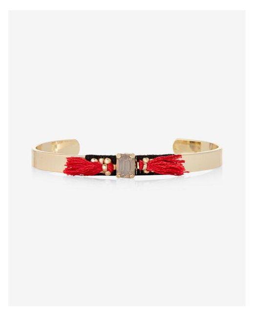 Express | Black Wrapped Stone Tassel Cuff Bracelet | Lyst