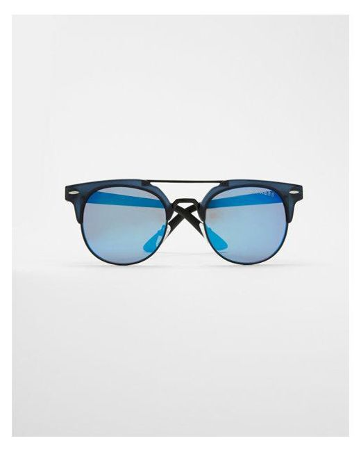 Express - Blue Tinted Browline Sunglasses for Men - Lyst