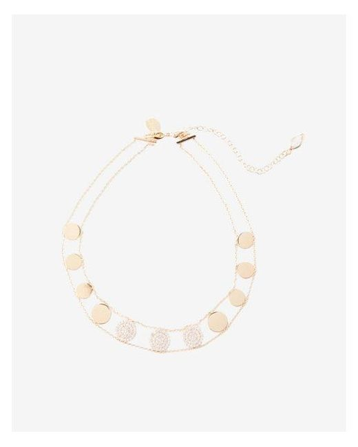 Express - Metallic Pave Disc Choker Necklace - Lyst