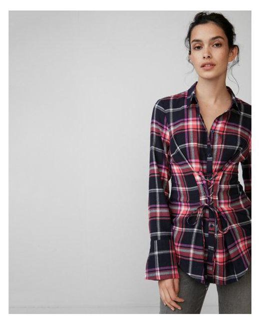 Express - Red Corset Front Cotton Flannel Shirt - Lyst