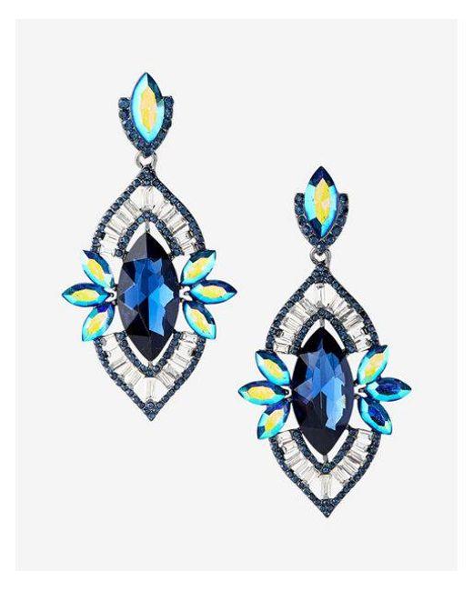 Express | Blue Oblong Teardrop Earrings | Lyst