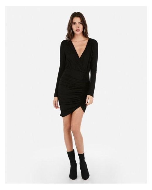 21608849 Lyst - Express Olivia Culpo Asymmetrical Surplice Dress in Black