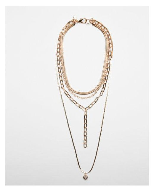 Express - Metallic Nested Cubic Zirconia Layered Necklace - Lyst