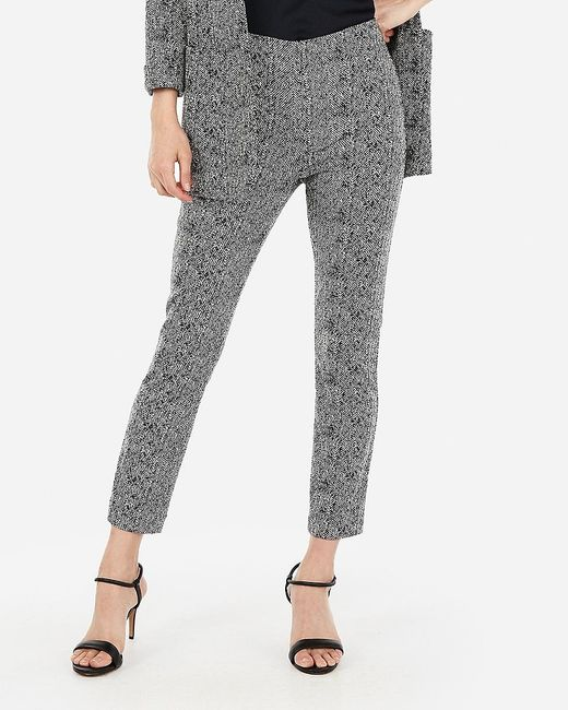 Express High Waisted Skinny Cropped Jacquard Pant Black And White
