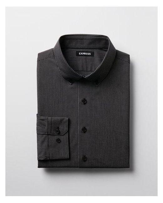 Express - Black Slim Fit Striped Cotton Dress Shirt for Men - Lyst