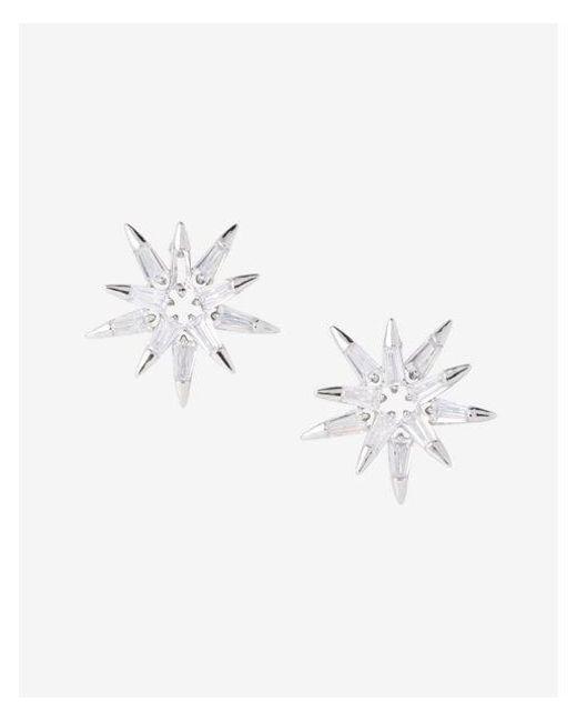 Express - Metallic Cubic Zirconia Starburst Post Earrings - Lyst