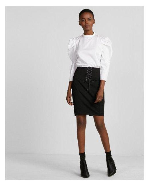 Express - Black High Waisted Corset Pencil Skirt - Lyst