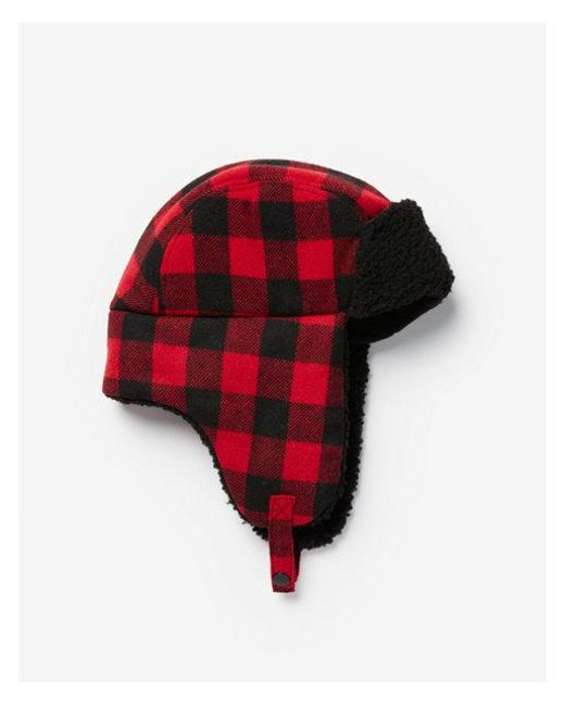31ae8e23ca4 Express Buffalo Check Trapper Hat in Red for Men - Lyst
