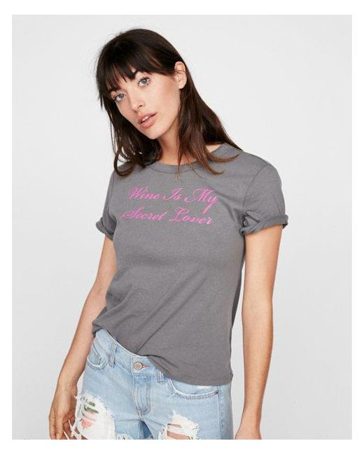 Express - Gray One Eleven Wine Lover Crew Neck Tee - Lyst