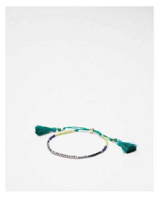 Express - Green Faceted Tassel Pull-cord Bracelet - Lyst