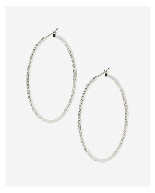Express - Metallic Pave Hoop Earrings - Lyst