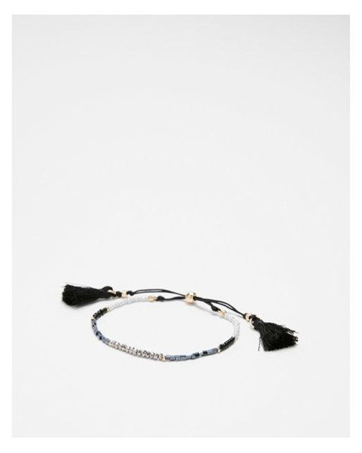 Express - Black Faceted Tassel Pull-cord Bracelet - Lyst
