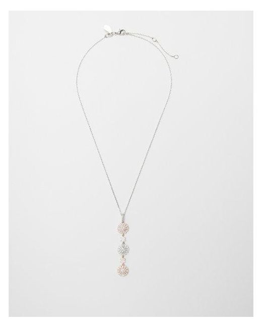 Express - Metallic Tricolor Stone Linear Pendant Necklace - Lyst