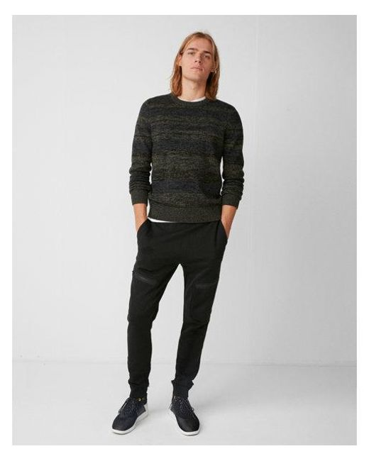 Express - Green Marl Stripe Crew Neck Sweater for Men - Lyst