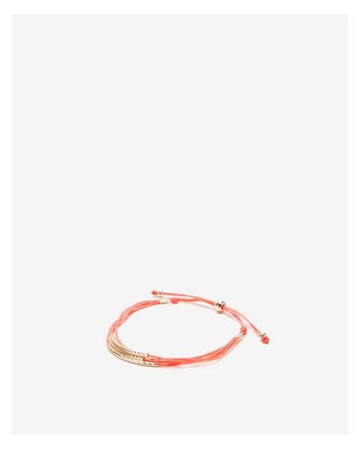 Express - Orange Coral Hammered Pull-cord Bracelet - Lyst