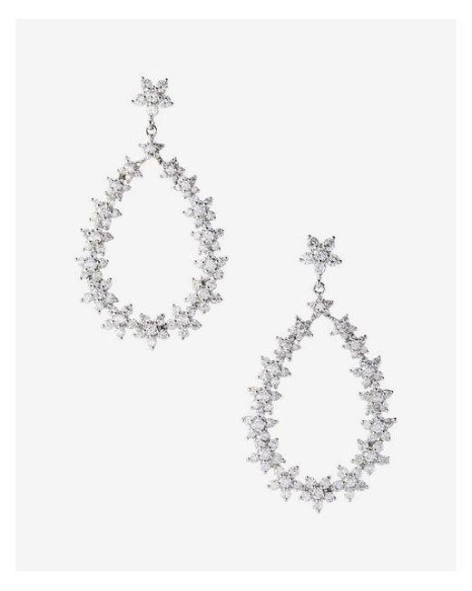 Express - Metallic Cubic Zirconia Oval Drop Earrings - Lyst
