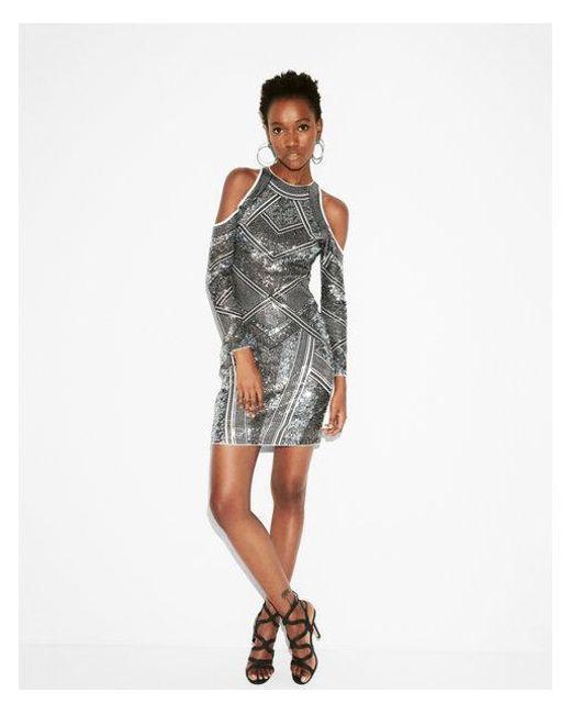 Express | White Sequin Cold Shoulder Sheath Dress | Lyst