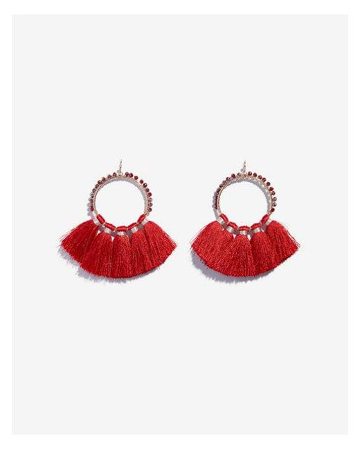 Express - Red Beaded Tassel Drop Earrings - Lyst